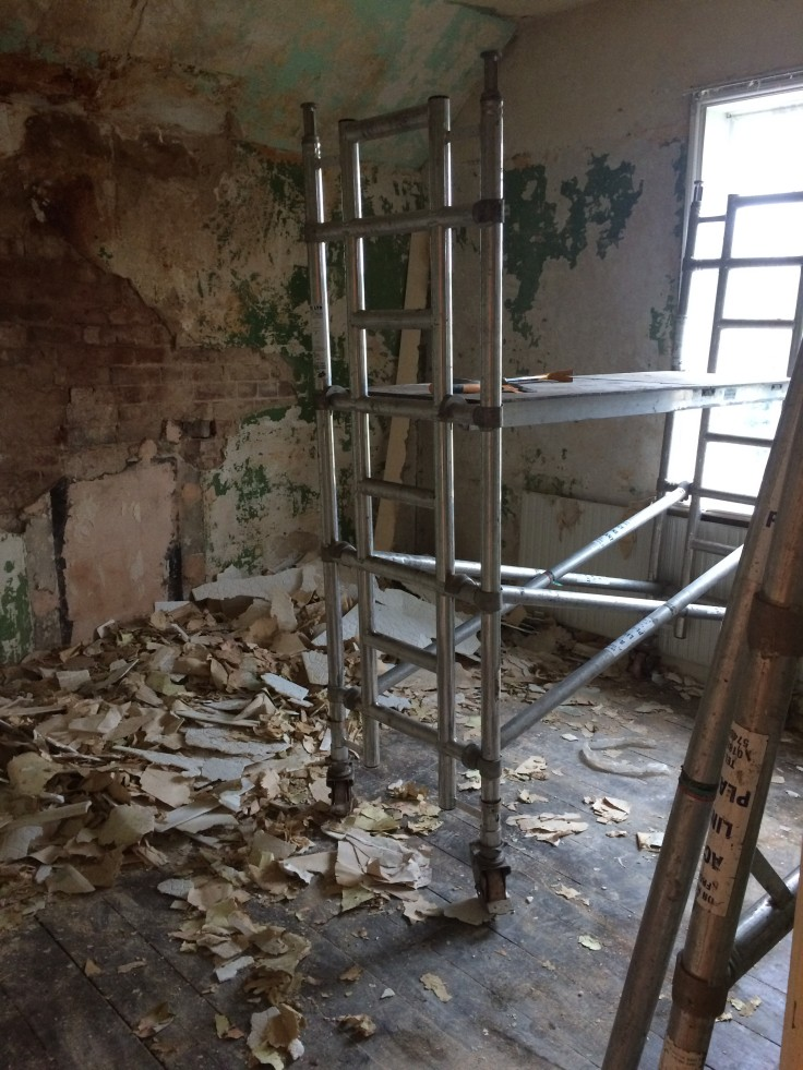 Stripping walls - a messy job!